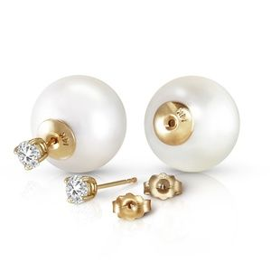 NATURAL DIAMOND EARRINGS WITH WHITE SHELL PEARLS
